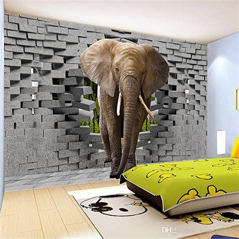 custom  photo wallpaper lifelike elephant wall breaching