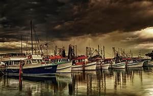 Stormy sky boats at marina art hd wallpapers Wallpapers