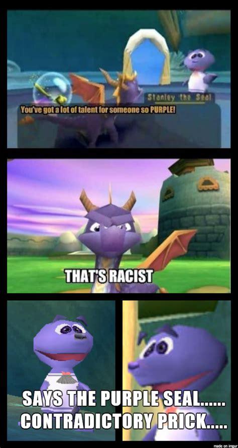 spyro  dragon  damn racist seals meme