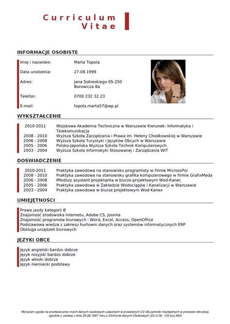 Cv Generator by Curriculum Vitae Wzor Cv