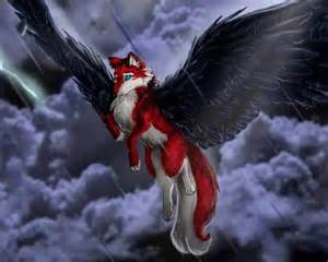 Black and Red Anime Wolf with Wings