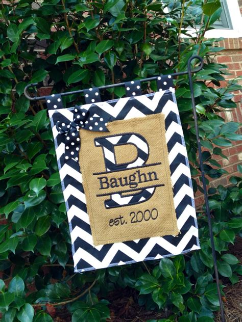 personalized burlap chevron garden flag