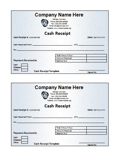 receipt book templates   printable word excel
