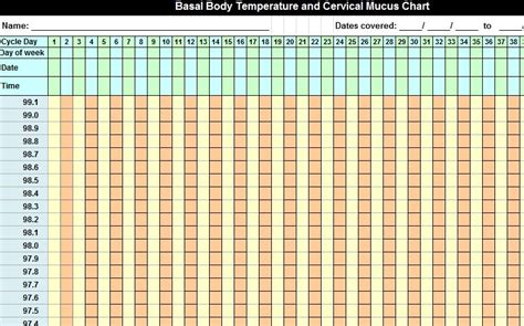 Basal Temperature Chart Template by Basal Temperature Chart Basal Thermometer