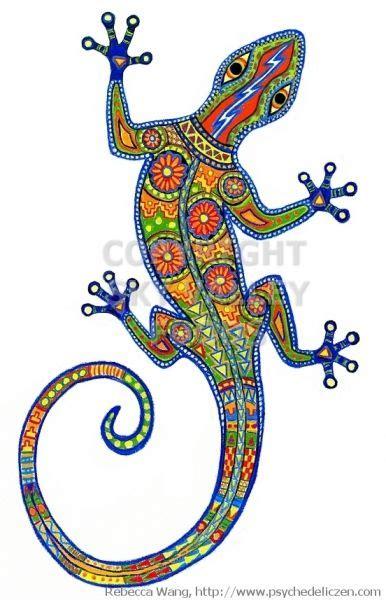 oaxacan lizard label design dot art painting aboriginal
