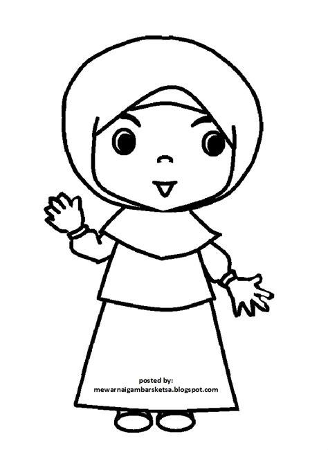 gambar mewarnai gambar sketsa kartun anak muslimah 75