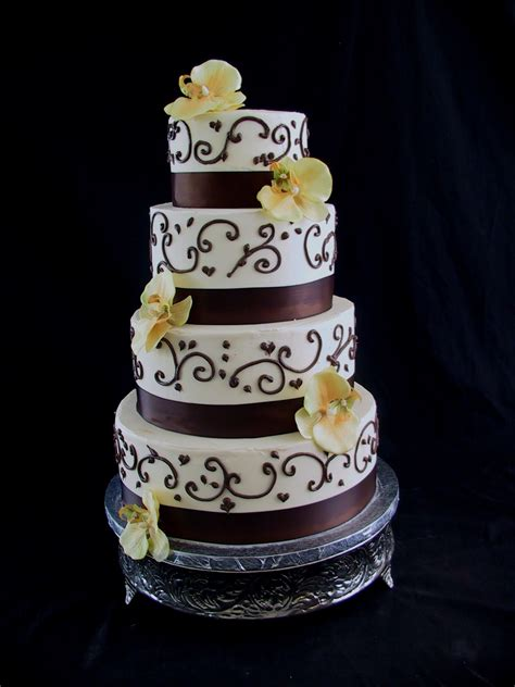 wedding cake chocolate brown  ivory autumn acres