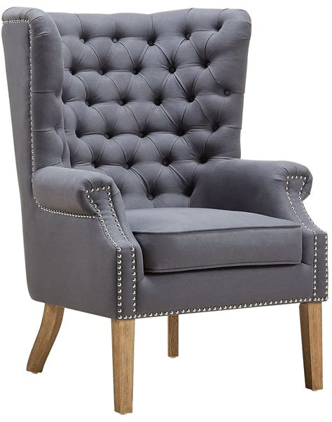 Abe Grey Linen Wing Chair From Tov (tova2040) Coleman
