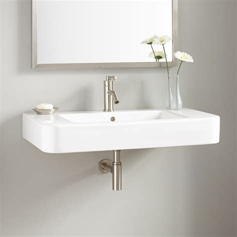 Wall Mount Sink by 34 Quot Burleson Porcelain Wall Mount Sink Bathroom