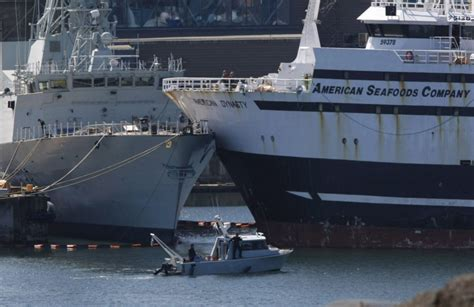 Ship Collision by U S Fish Boat Collides With Docked Canadian Navy Frigate