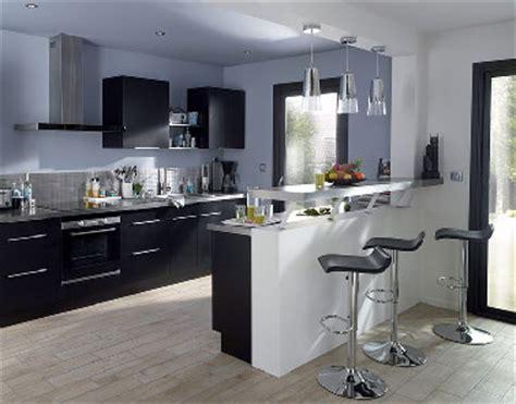 cuisine blanc laque avec ilot cuisine noir avec îlot moderne noir et blanc castorama