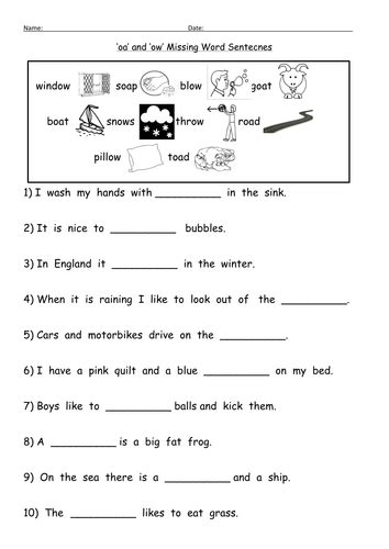 oa and ow oa digraph worksheets by barang teaching
