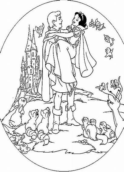 Snow Coloring Princess Prince Disney Colouring Clipart