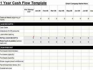 Excel Calendar Chart 1 Year Cash Flow Template My Excel Templates