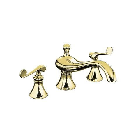 polished brass bathroom faucet kohler kohler revival deck mount high flow bath faucet trim in