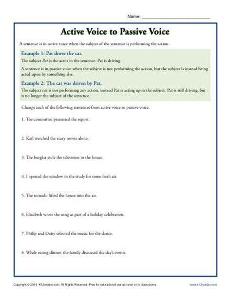 active voice to passive voice subject predicate worksheets