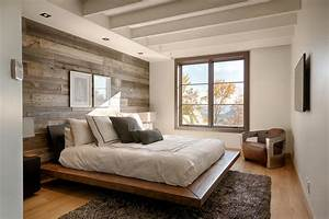 Simple bedroom ideas with white wooden beam ceiling and
