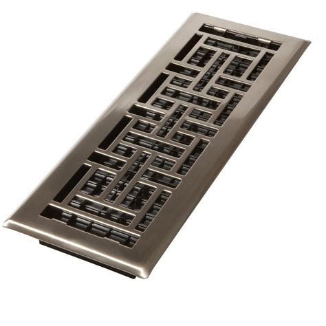 home depot floor vents decor grates 4 in x 10 in steel brushed nickel oriental design floor register ajh410 nkl the