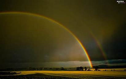 Rainbow Double Rainbows Sky Wallpapers Background Bow