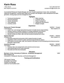 resume summary for entry level sales representative restaurant theatre manager resume sle my perfect resume