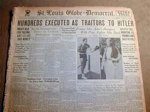 BEST 1934 headline newspaper HITLER PURGES NAZI PARTY ...