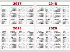 Fije El Calendario 2017, 2018, 2019, 2020 Plantillas De La