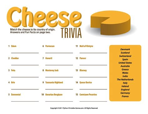 quiz cuisine picnic printable cheese trivia quiz activities riddles quizzes trivia