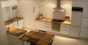 Cuisine Plan De Travail Bois : cuisine blanche avec plan de travail bois cuisine by ~ Dailycaller-alerts.com Idées de Décoration