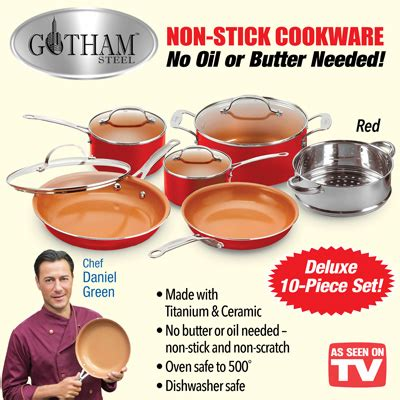 gotham steel red cookware set  pc  collections