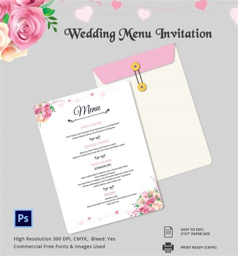 wedding menu template     psd word
