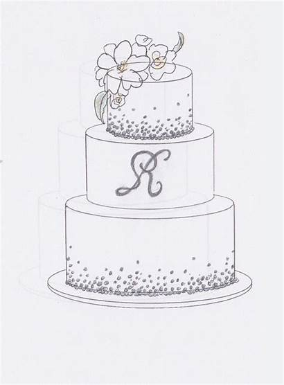 Cake Sketch Simple Drawing Birthday Sketches Cakes