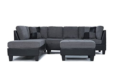 3 discount gray microfiber sectional sofa set with cheap 3 modern reversible microfiber faux leather