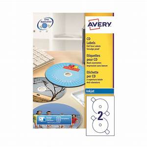 Avery full face inkjet white cd labels 2 per sheet 200 for Avery disc labels