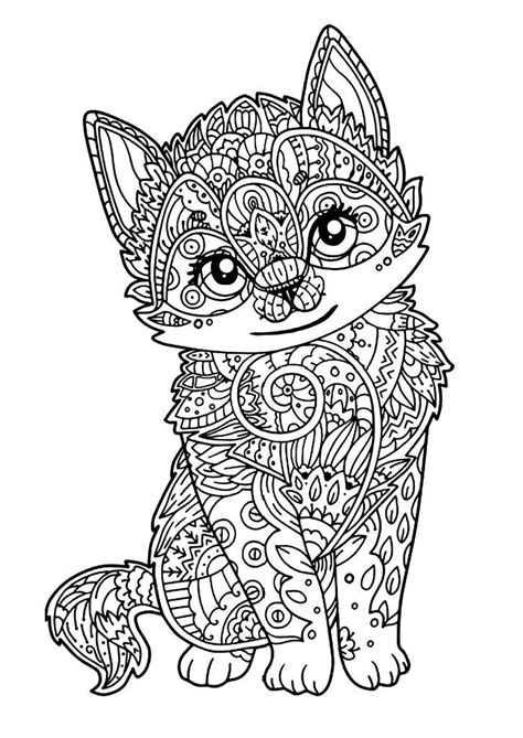 cat coloring pages  adults mandala coloring pages