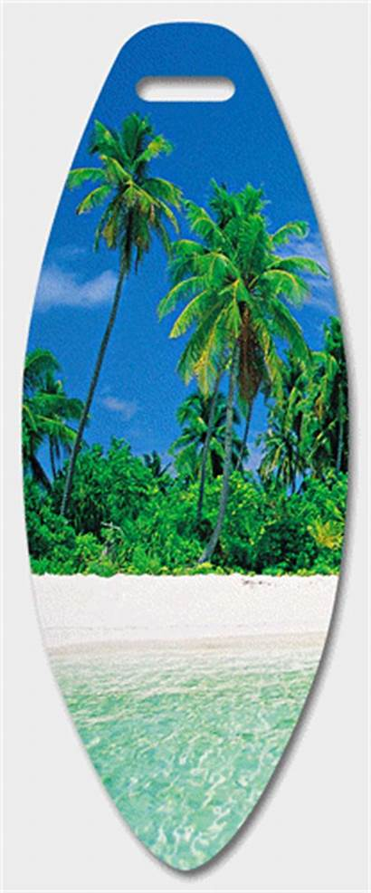 Tropical Beach Luggage Tag Surf Board Hawaiian