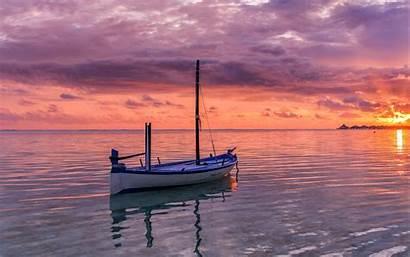 Ocean Boat Sea Sunset 4k Horizon Background