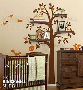 new shelf tree with birds squirrels vinyl sticker wall With kitchen cabinets lowes with kids vinyl wall art