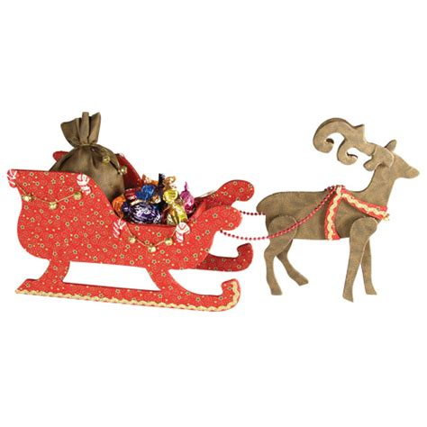 sleigh with reindeer with fabric