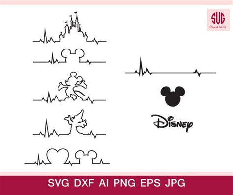 disney heart beat svg files png dxf ai dxf disney castle head mickey minnie heart beat