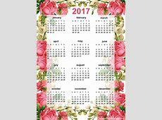 Free printable 2017 rose calendar ausdruckbarer Kalender