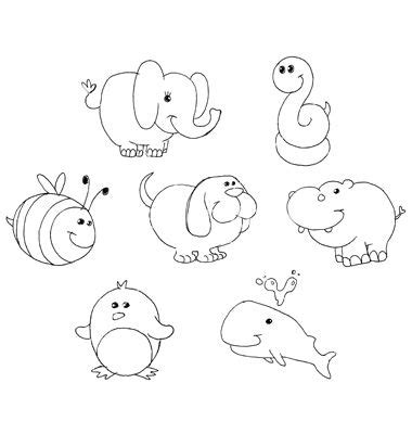 outlined animal doodles vector  credit  vector