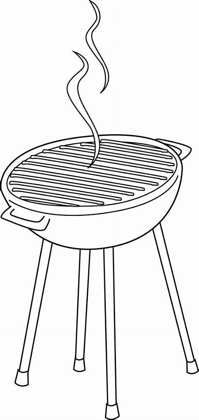 Grill Clip Clipart Coloring Barbeque Line Bbq