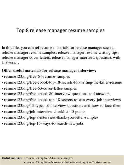Release Project Manager Resume by Top 8 Release Manager Resume Sles