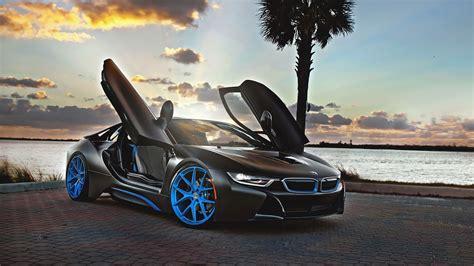 Black And Blue Car Wallpaper Hd by Black Concep Car Bmw I8 Blue Wheels