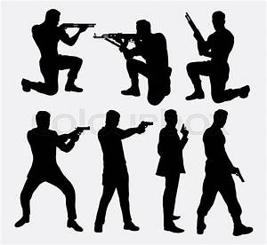 Man with gun silhouettes. Good use for symbol, logo, web ...