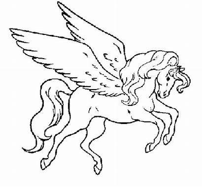 Unicorn Coloring Pages Winged Wings Children Flying
