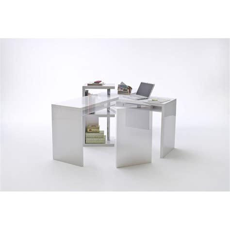 mattis white lacquered swivel computer desk office