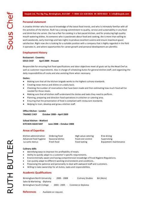 Chef Resume Template by Chef Resume Sle Exles Sous Chef Free