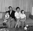 American television actor Don Knotts sits on a couch with ...