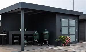Gartenhaus Grau Modern : modernes flachdach gartenhaus aus aluminium mit berdachter terrasse q s gartendeco ~ Buech-reservation.com Haus und Dekorationen